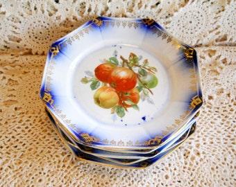 Antique Victorian 1880s Flow Blue Dessert Plates Set 5 Apple Fruit Floral Ironstone Imperial Semi Vitreous China Porcelain Scalloped Octagon