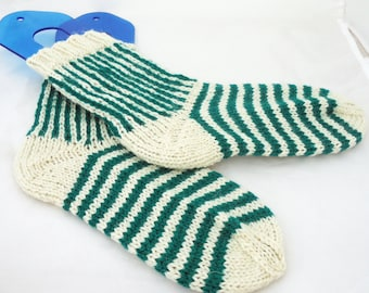 Wool Socks, Striped Socks, White and Aqua Blue Socks, Winter Socks, Boot socks, Women Socks