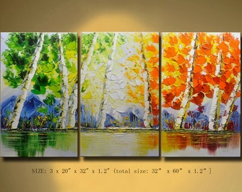 contemporary wall art, Palette Knife Painting,colorful tree painting,wall decor, Home Decor,Acrylic Textured Painting ON Canvas by Chen w45a