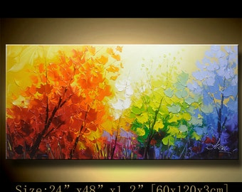 contemporary wall art, Palette Knife Painting,colorful tree painting,wall decor  Home Decor,Acrylic Textured Painting ON Canvas by Chen xx80