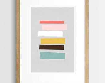 Mid Century Print, Abstract Wall Art, Geometric Art Print, Home Decor, Modern Abstract, Colourful Art, A3 Art Print, Modern Art