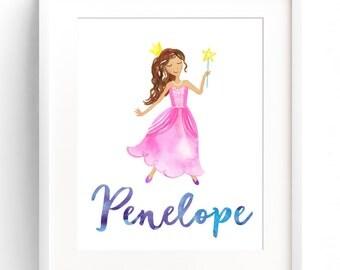 Custom Name Print, Custom Princess Watercolor Nursery Print, Baby Name Wall Art 8x10 11x14 12x16 Nursery Wall Art