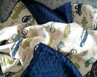 Blanket Premium Duck Retro Cars Minky backing 19 colors Carseat Blanket Crib Blanket Minky Blanket