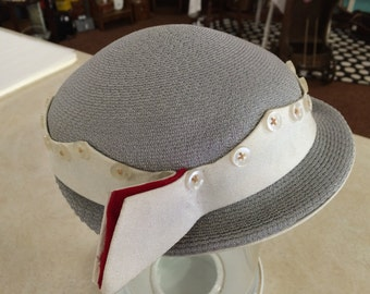 Vintage Grey White and Red Womans Hat 40s