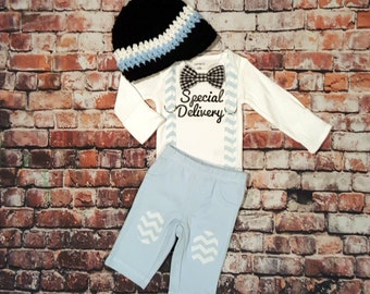 Newborn Baby Boy Coming Home Outfit. Baby Boy Tie Bodysuit with Suspenders, Crocheted Newsboy Hat, and Knee Patch Pants, Baby Shower Gift