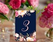 Boho Floral and Navy Table Numbers - Wedding Printables - Numbers 1-24