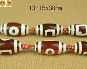 Sale---10 pcs of Tibetan Agate dZi eye smooth rice beads 13-15x30mm