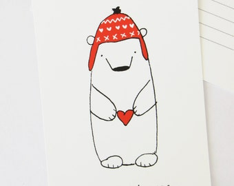 Warm Wishes Holiday Postcard, Blank Christmas Note card, winter polar bear illustration with red fairisle hat & heart, season's greetings