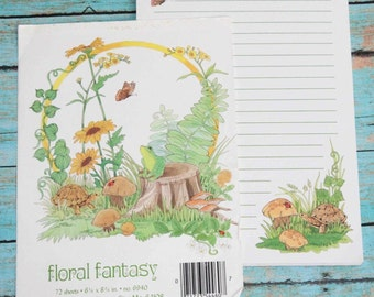 Floral Fantasy Stationery PaperBy Stuart Hall Notepad Memo Pad 42 sheets 70s 80s