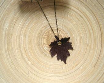 Leather leaf necklace, Brown leaf necklace, Nuray