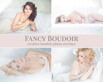 "Boudoir photo overlays ""Fancy Boudoir"",  sparkle mist, fume, bokeh & color atmosphere, photo overlays for Photoshop"