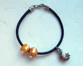 Night Navy Blue Leather Cording Orange Silver Glass Beads Crescent Moon and Stars Bracelet - Inspired by Shadowhunters