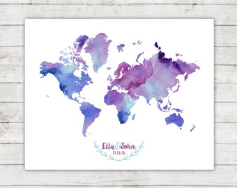 Wedding Guest Book World Map Alternative, Digital File, Printable, Travel Themed Wedding, Watercolor