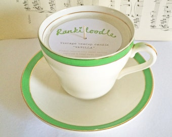 Vintage Green & white Teacup Candle