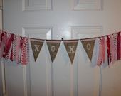 SALE XOXO Hugs and Kisses Valentine's Day Burlap Banner and Fabric Garland Rag Tie Banner Party Decoration, Photo Prop Backdrop