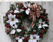 ON SALE Holiday Wreath, White Poinsettia Wreath, Country Christmas, Rustic Winter Wreath, Christmas Plaid Wreath, Cabin Décor