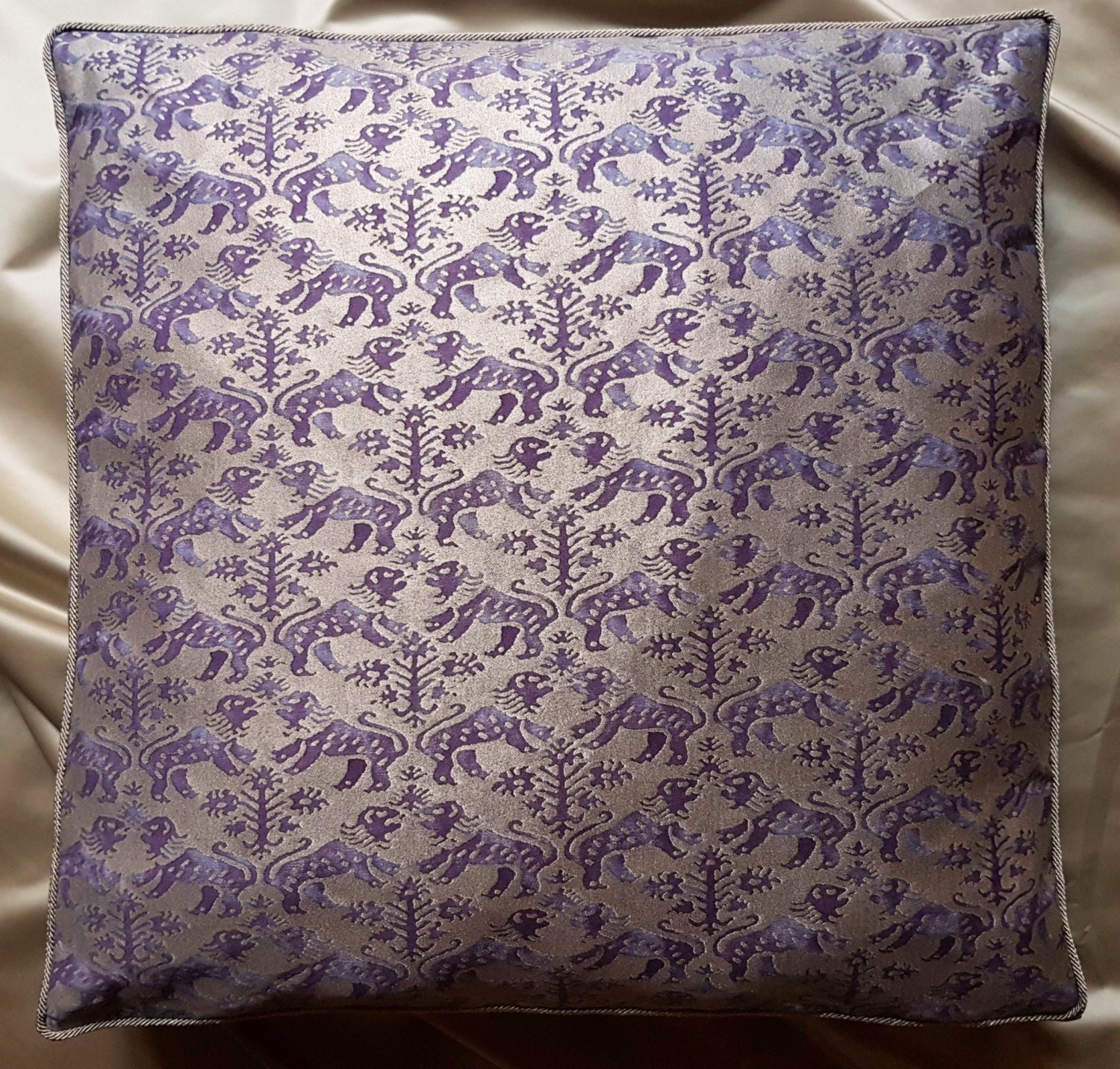 Fortuny Fabric Box Edge Throw Pillow Cushion Cover Royal