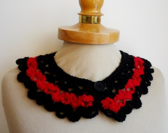 Black and Red Peter Pan Collar, Crochet Collar,  Black  and Red color, Detachable Collar Necklace,  Black and  Red crochet Collar
