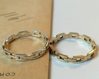 Chain Link Band - Stacking Ring - Wedding Band - Made to Order  - Sterling Silver, 10k White, Yellow or Rose Gold