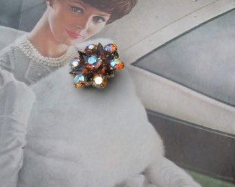 Sale -Amber and Topaz Aurora Borealis Brooch - Amber Aurora Borealis Brooch - Vintage Amber Brooch