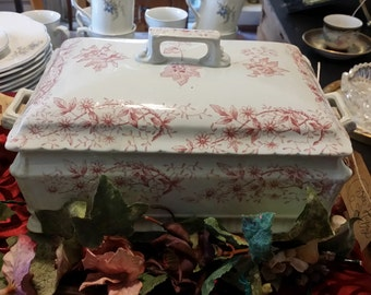 Antique J F Wileman Covered Casserole Serving Dish - Brown Transferware - Elsmere pattern - Made in England