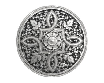 3 Satori 3/4 inch ( 19 mm ) Metal Buttons Antique Silver Color