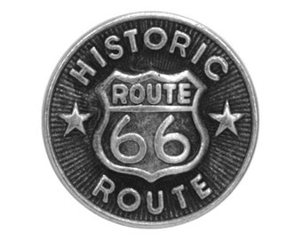 12 Route 66 Metal Buttons 3/4 inch ( 20 mm )