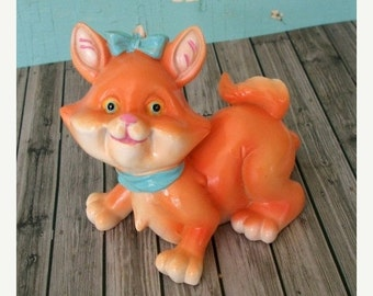 ON SALE Adorable Vintage Orange Cat or Kitten Figurine Resin Kitsch Whimsical Home Decor Collectible Figurine Childs Room