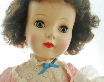 "ON SALE Vintage 1950s American Character Sweet Sue Doll, 24"" Tall, Head Turning Walker, Original Clothes, Dark Brown Hair, Blue Sleep Eyes,"