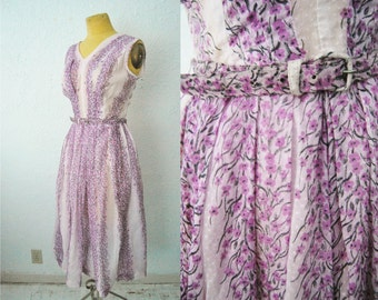 Vintage 50s Purple Lolac Flower Floral Dress Party Day Dress Hollywood Voile Belted