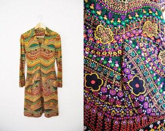 Vintage Retro Print 60s Quilted Dress Pockets Womens Clothing / Mini / Print / Bohemian / Hippie / Boho