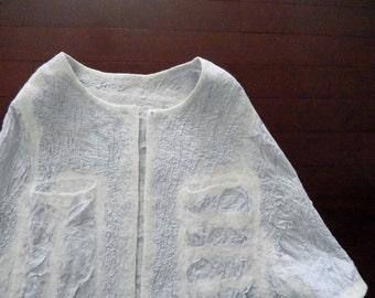 Nuno Felted Cape Jacket /Cropped Jacket for everyday Art  Wear, Slow design, momoish made