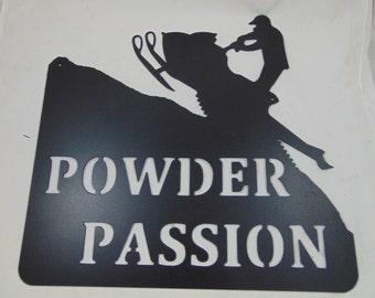 Custom Metal Snowmobile Sign, Sled, Powder Passion