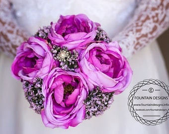 Purple Garden Rose Floral Bouquet