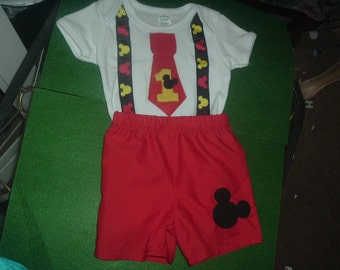 Mickey Mouse Boy Birthday Shirt and Shorts Outfit