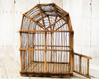 French Country Wood and Wire Handmade Vintage Birdcage