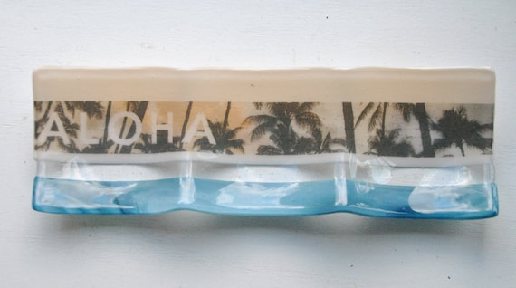 Aloha and Palm Imagery Fused Dish: 3-part sectional dish/plate 4x12 peach, blue and clear glass with palm tree imagery