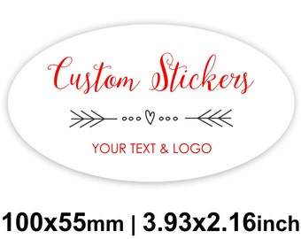100x 55mm Oval (3.93x2.16 inches) White Custom Stickers/Labels for Product Labels, Wedding Seals, Packaging