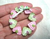 Dollhouse wreath with hearts, fabric heart wreath miniature, handmade miniature - Dollhouse miniature scale 1:12