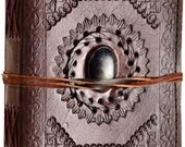 """Leather Journals 5"""" x 7"""" God's Eye leather blank book w/ cord #10-BBBCGEM"""