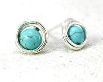 Turquoise Howlite and Sterling Silver Post Earrings / Wire Wrapped Jewelry / Simple Silver Jewelry / Gifts under 20