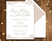 Printable Wedding Invitation Rustic Lace - Invitation for Country Wedding EDITABLE text Digital Wedding Invitation Template INSTANT DOWNLOAD