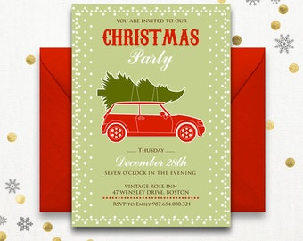 Printable holiday party invitations Instant Download Christmas Party Invitation - Retro Christmas Card Christmas Holiday Party, Holiday Card