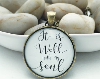 It is well with my soul hymn glass pendant necklace antique bronze silver round circle Scripture jewelry Bible verse black white handwritten