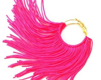 Neon Pink Fringe Hoops