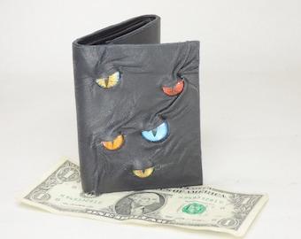 Black Leather Wallet Tri-Fold Multi Eye Monster Face Credit Card Holder