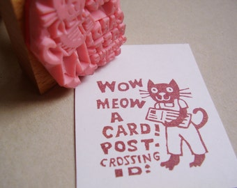 Postcrossing stamp cat / Meow wow