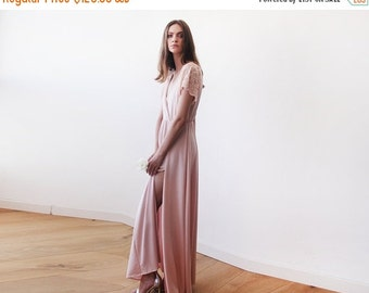 Blush pink  wrap dress with lace sleeves, Maxi pink gown with slit, Short sleeves lace dress
