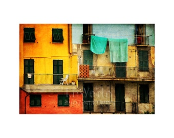 Cute Houses, Tuscany, Italy, Architecture Photo, Travel Photography, Aqua, Tomato Red, Sunflower Yellow, Home Decor