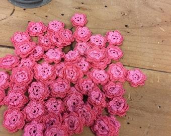 Pink Crochet Flowers, 50pcs